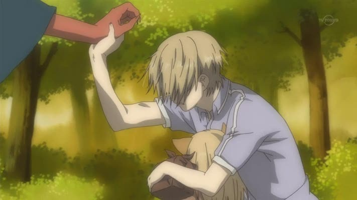 Course, he isn't a very good fighter so Natsume has to save him again