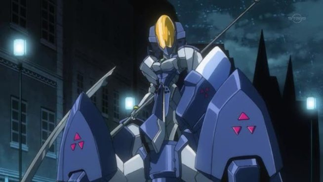 Of course we have to have a poorly designed mecha piloted by an ugly girl wearing a revealing plug suit