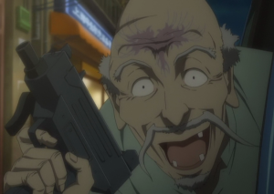 the old man (as he excitedly tries to gun Maria and Mino down)